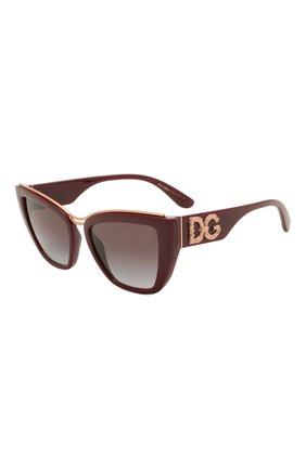 Женские солнцезащитные очки DOLCE & GABBANA бордового цвета, арт. 6144-32858G | Фото 1 (Тип очков: С/з; Очки форма: Cat-eye; Оптика Гендер: оптика-женское)