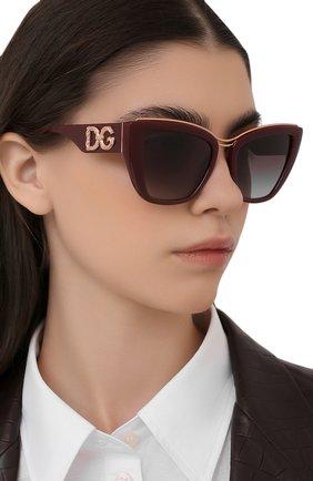 Женские солнцезащитные очки DOLCE & GABBANA бордового цвета, арт. 6144-32858G | Фото 2 (Тип очков: С/з; Очки форма: Cat-eye; Оптика Гендер: оптика-женское)