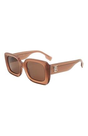 Женские солнцезащитные очки BURBERRY коричневого цвета, арт. 4327-317373   Фото 1 (Тип очков: С/з; Оптика Гендер: оптика-женское; Очки форма: Прямоугольные)