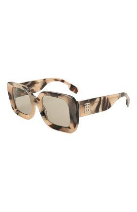 Женские солнцезащитные очки BURBERRY бежевого цвета, арт. 4327-3501/3   Фото 1 (Тип очков: С/з; Оптика Гендер: оптика-женское; Очки форма: Прямоугольные)