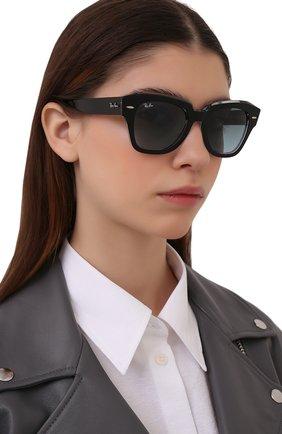 Женские солнцезащитные очки RAY-BAN черного цвета, арт. 2186-12943M | Фото 2