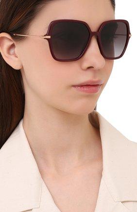 Женские солнцезащитные очки DOLCE & GABBANA бордового цвета, арт. 6157-32858G | Фото 2 (Тип очков: С/з; Очки форма: Квадратные, Бабочка; Оптика Гендер: оптика-женское)