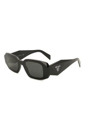 Женские солнцезащитные очки PRADA черного цвета, арт. 17WS-1AB5S0   Фото 1 (Тип очков: С/з; Очки форма: Прямоугольные; Оптика Гендер: оптика-женское)