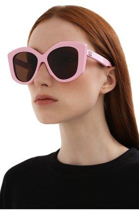 Женские солнцезащитные очки BALENCIAGA розового цвета, арт. BB0126S 003 | Фото 2