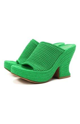 Женские текстильные мюли wedge BOTTEGA VENETA зеленого цвета, арт. 658980/V0U80 | Фото 1