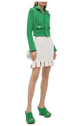 Женские текстильные мюли wedge BOTTEGA VENETA зеленого цвета, арт. 658980/V0U80 | Фото 2