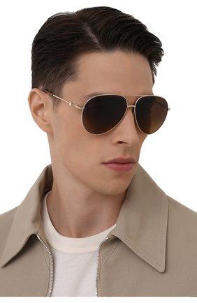 Мужские солнцезащитные очки MONCLER коричневого цвета, арт. ML 0201 32H 60 С/З ОЧКИ | Фото 2