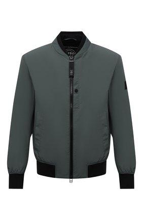 Мужской бомбер BOSS темно-зеленого цвета, арт. 50451960   Фото 1 (Кросс-КТ: Куртка; Длина (верхняя одежда): Короткие; Материал внешний: Синтетический материал; Принт: Без принта; Стили: Кэжуэл; Рукава: Длинные)
