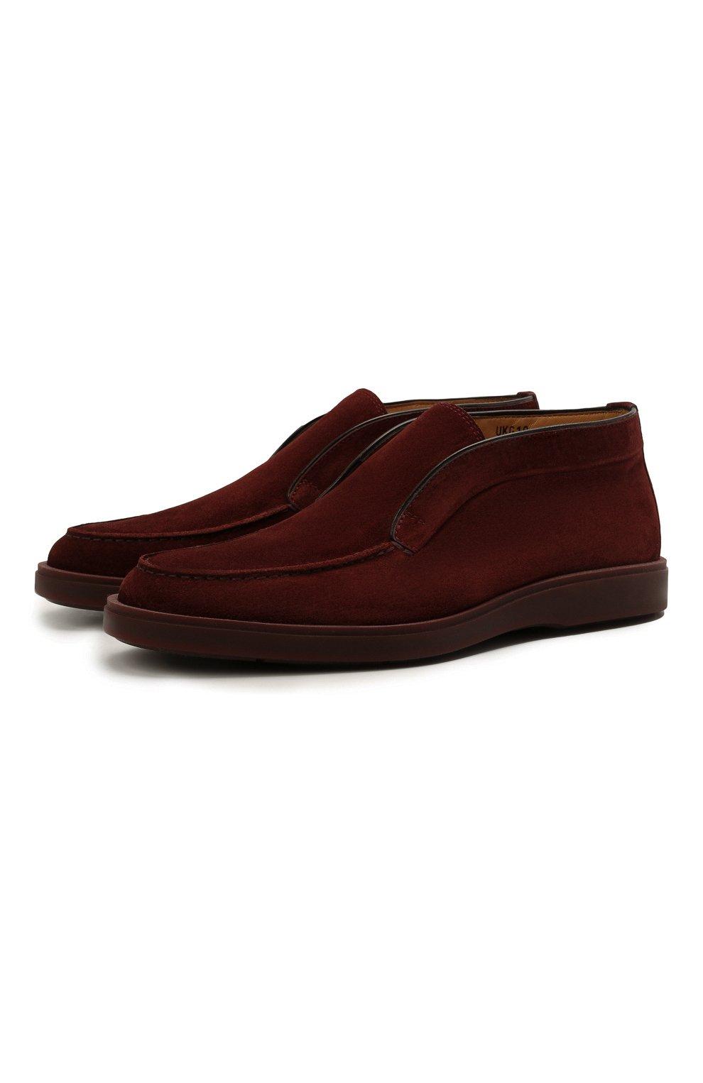 Мужские замшевые ботинки SANTONI бордового цвета, арт. MGDG17823AATESVUQ52   Фото 1 (Мужское Кросс-КТ: Ботинки-обувь; Материал внутренний: Натуральная кожа; Подошва: Плоская; Материал внешний: Замша)