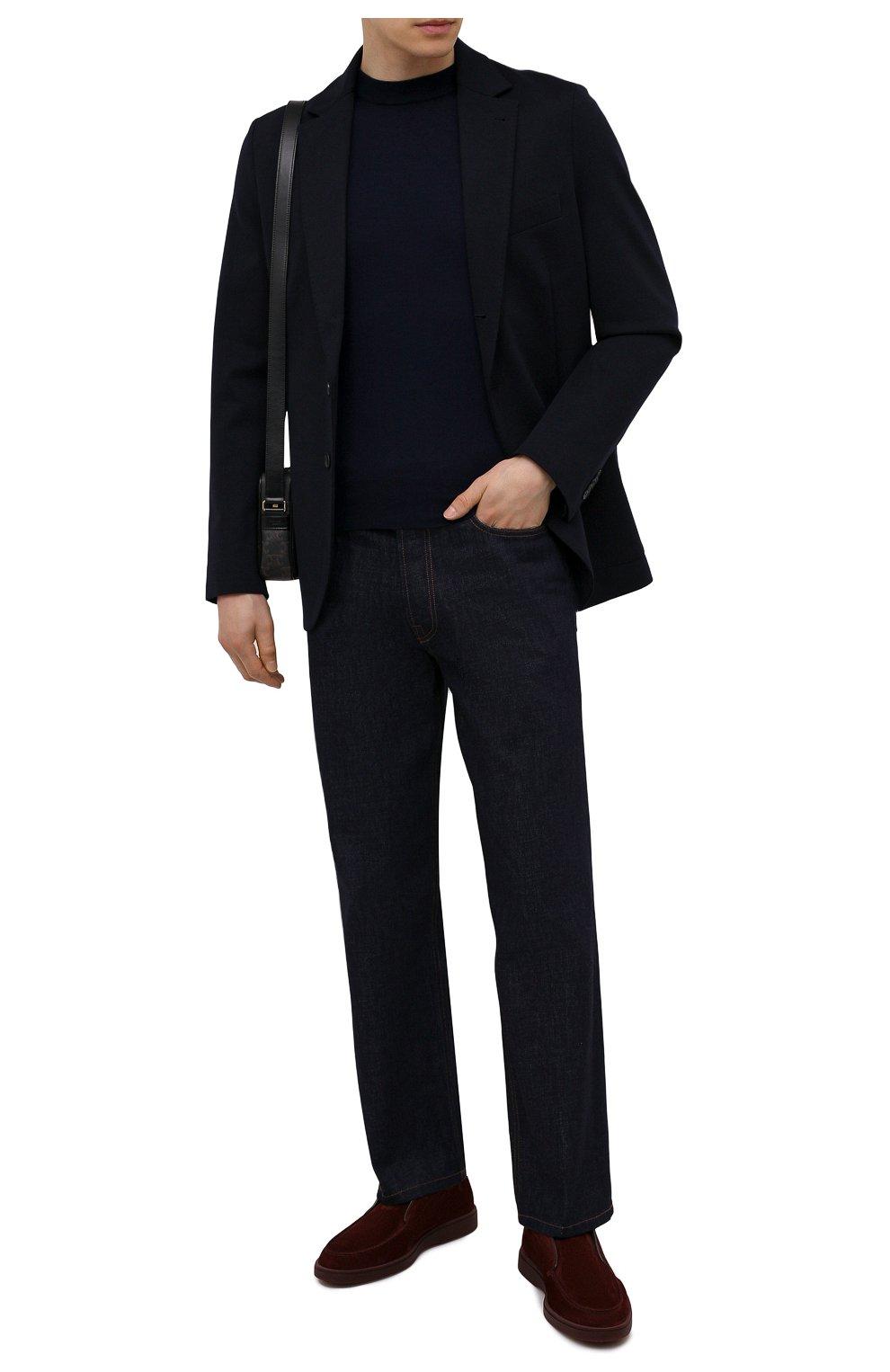 Мужские замшевые ботинки SANTONI бордового цвета, арт. MGDG17823AATESVUQ52   Фото 2 (Мужское Кросс-КТ: Ботинки-обувь; Материал внутренний: Натуральная кожа; Подошва: Плоская; Материал внешний: Замша)