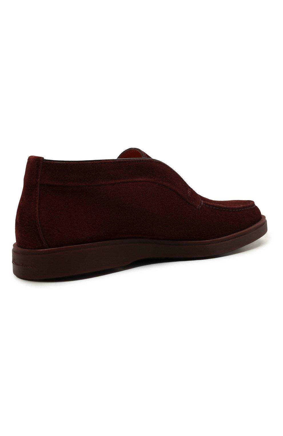 Мужские замшевые ботинки SANTONI бордового цвета, арт. MGDG17823AATESVUQ52   Фото 4 (Мужское Кросс-КТ: Ботинки-обувь; Материал внутренний: Натуральная кожа; Подошва: Плоская; Материал внешний: Замша)
