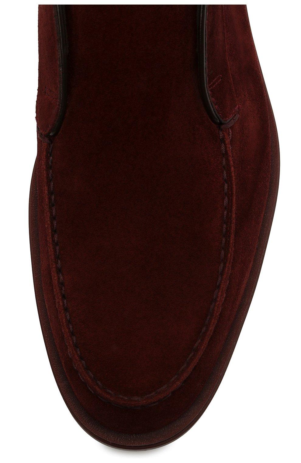 Мужские замшевые ботинки SANTONI бордового цвета, арт. MGDG17823AATESVUQ52   Фото 5 (Мужское Кросс-КТ: Ботинки-обувь; Материал внутренний: Натуральная кожа; Подошва: Плоская; Материал внешний: Замша)