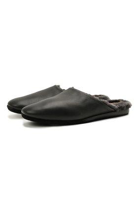 Мужского кожаные домашние туфли SANTONI черного цвета, арт. PMXXA2147XXX1CLBN01 | Фото 1