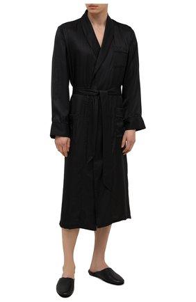 Мужского кожаные домашние туфли SANTONI черного цвета, арт. PMXXA2147XXX1CLBN01 | Фото 2