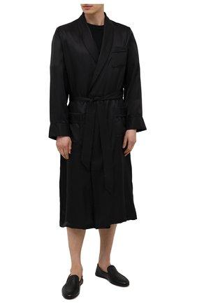 Мужского кожаные домашние туфли MAGNANNI черного цвета, арт. 21777/CIERV0 | Фото 2