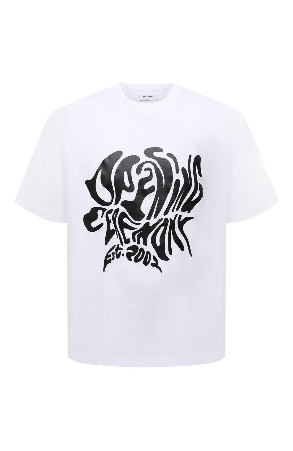 Мужская хлопковая футболка OPENING CEREMONY белого цвета, арт. YMAA001S21JER003   Фото 1 (Рукава: Короткие; Длина (для топов): Стандартные; Принт: С принтом; Материал внешний: Хлопок; Стили: Спорт-шик)