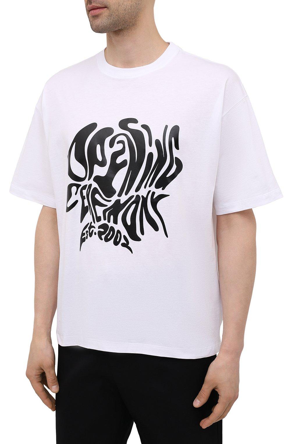Мужская хлопковая футболка OPENING CEREMONY белого цвета, арт. YMAA001S21JER003   Фото 3 (Рукава: Короткие; Длина (для топов): Стандартные; Принт: С принтом; Материал внешний: Хлопок; Стили: Спорт-шик)
