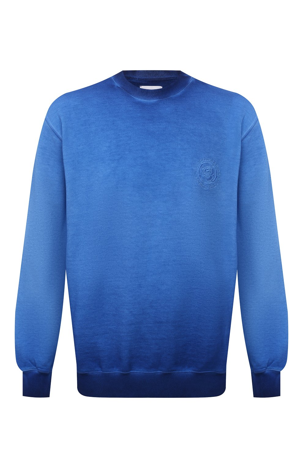 Мужской хлопковый свитшот OPENING CEREMONY синего цвета, арт. YMBA003S21FLE002   Фото 1 (Рукава: Длинные; Принт: Без принта; Длина (для топов): Стандартные; Мужское Кросс-КТ: свитшот-одежда; Материал внешний: Хлопок; Стили: Спорт-шик)