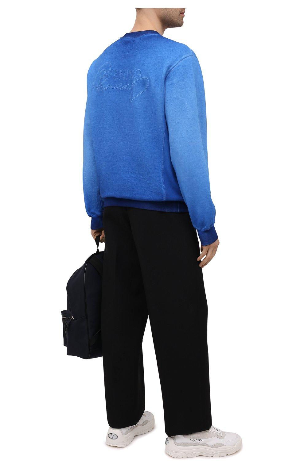 Мужской хлопковый свитшот OPENING CEREMONY синего цвета, арт. YMBA003S21FLE002   Фото 2 (Рукава: Длинные; Принт: Без принта; Длина (для топов): Стандартные; Мужское Кросс-КТ: свитшот-одежда; Материал внешний: Хлопок; Стили: Спорт-шик)