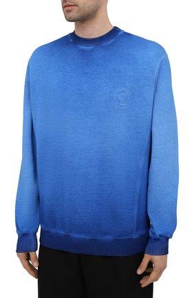 Мужской хлопковый свитшот OPENING CEREMONY синего цвета, арт. YMBA003S21FLE002   Фото 3 (Рукава: Длинные; Принт: Без принта; Длина (для топов): Стандартные; Мужское Кросс-КТ: свитшот-одежда; Материал внешний: Хлопок; Стили: Спорт-шик)