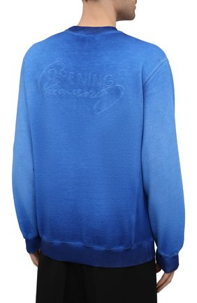 Мужской хлопковый свитшот OPENING CEREMONY синего цвета, арт. YMBA003S21FLE002   Фото 4 (Рукава: Длинные; Принт: Без принта; Длина (для топов): Стандартные; Мужское Кросс-КТ: свитшот-одежда; Материал внешний: Хлопок; Стили: Спорт-шик)