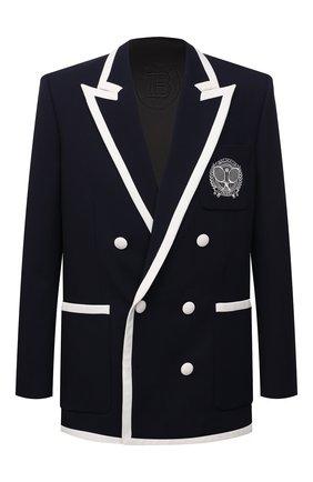 Мужской шерстяной пиджак BALMAIN темно-синего цвета, арт. WH1SI003/081W | Фото 1