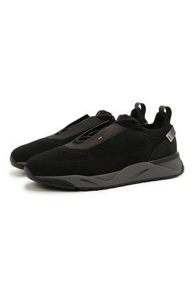 Мужские текстильные кроссовки SANTONI черного цвета, арт. MBI021601ANENH0DN01 | Фото 1