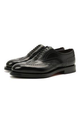 Мужские кожаные оксфорды SANTONI черного цвета, арт. MCCG17836MH4H0BRN01 | Фото 1