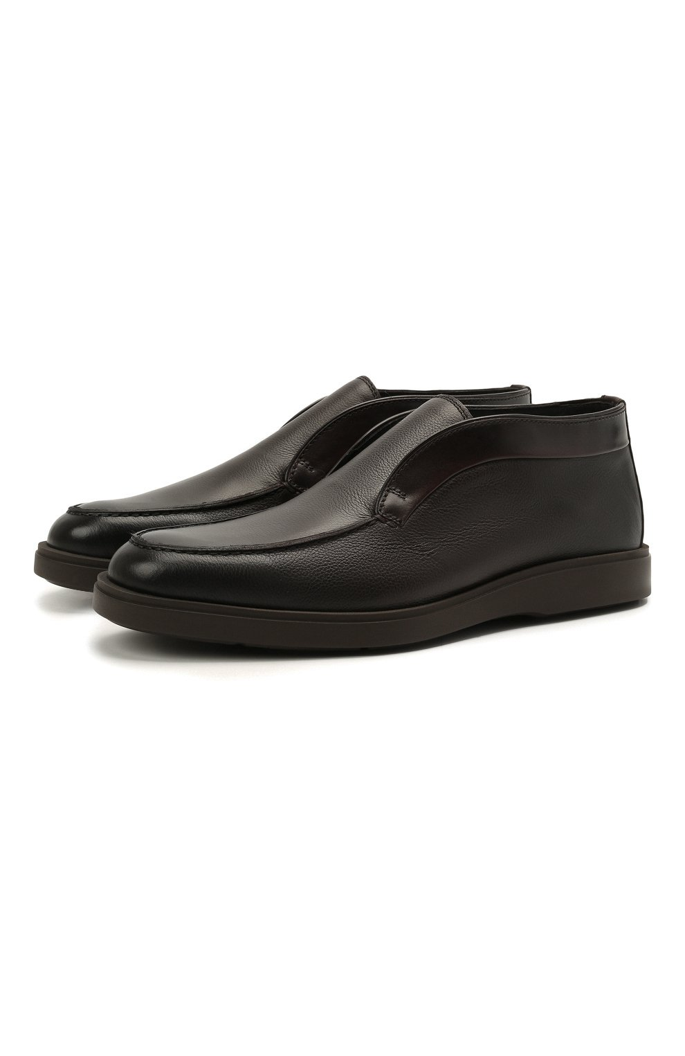 Мужские кожаные ботинки SANTONI темно-коричневого цвета, арт. MGDG17823DATANWLT50 | Фото 1 (Мужское Кросс-КТ: Ботинки-обувь, зимние ботинки; Подошва: Плоская)