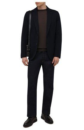 Мужские кожаные ботинки SANTONI темно-коричневого цвета, арт. MGDG17823DATANWLT50 | Фото 2 (Мужское Кросс-КТ: Ботинки-обувь, зимние ботинки; Подошва: Плоская)