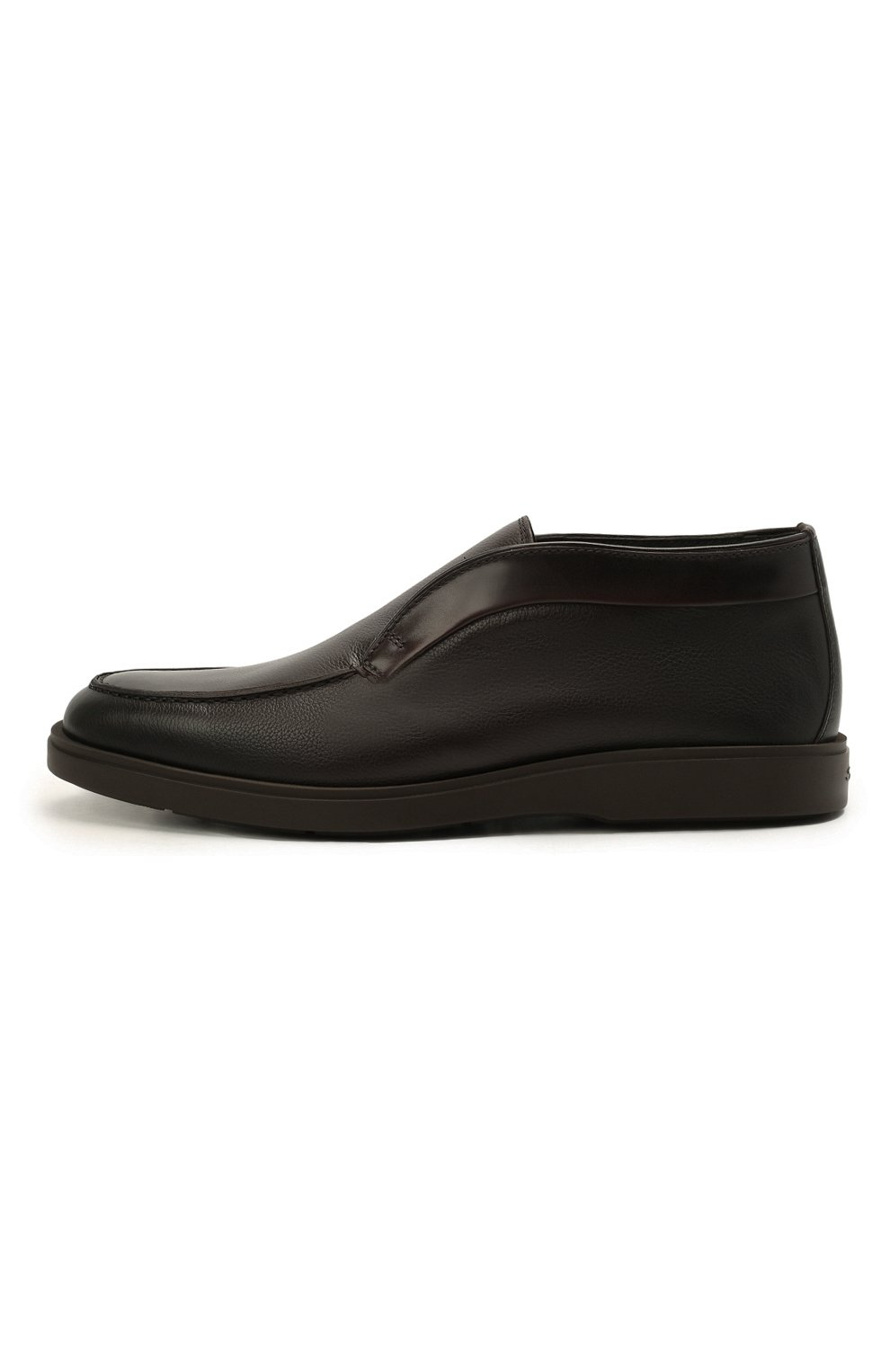Мужские кожаные ботинки SANTONI темно-коричневого цвета, арт. MGDG17823DATANWLT50 | Фото 3 (Мужское Кросс-КТ: Ботинки-обувь, зимние ботинки; Подошва: Плоская)