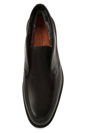 Мужские кожаные ботинки SANTONI темно-коричневого цвета, арт. MGDG17823DATANWLT50 | Фото 5 (Мужское Кросс-КТ: Ботинки-обувь, зимние ботинки; Подошва: Плоская)