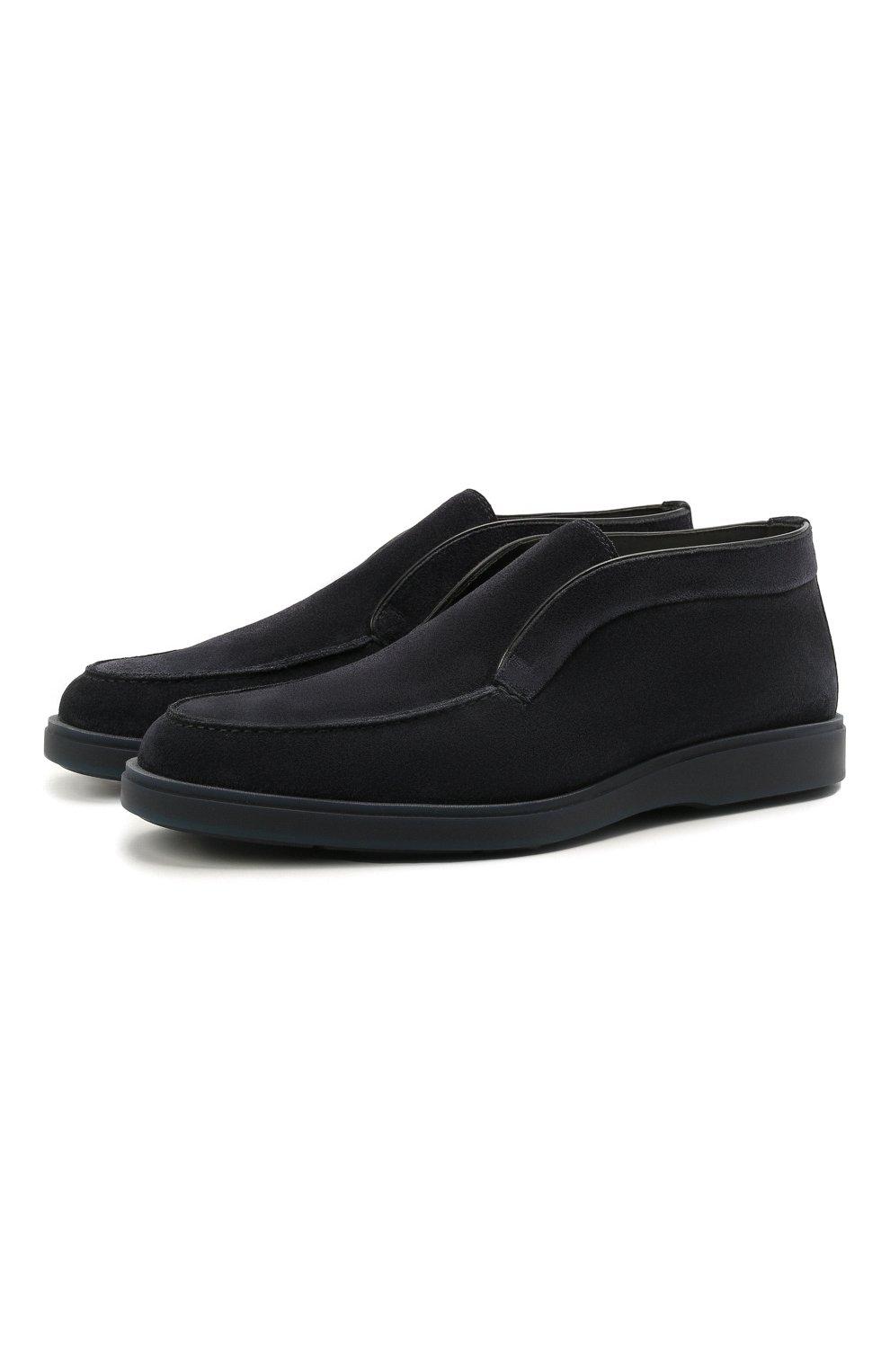Мужские замшевые ботинки SANTONI темно-синего цвета, арт. MGDT1782300TASVUU60   Фото 1 (Мужское Кросс-КТ: Ботинки-обувь, зимние ботинки; Подошва: Плоская)