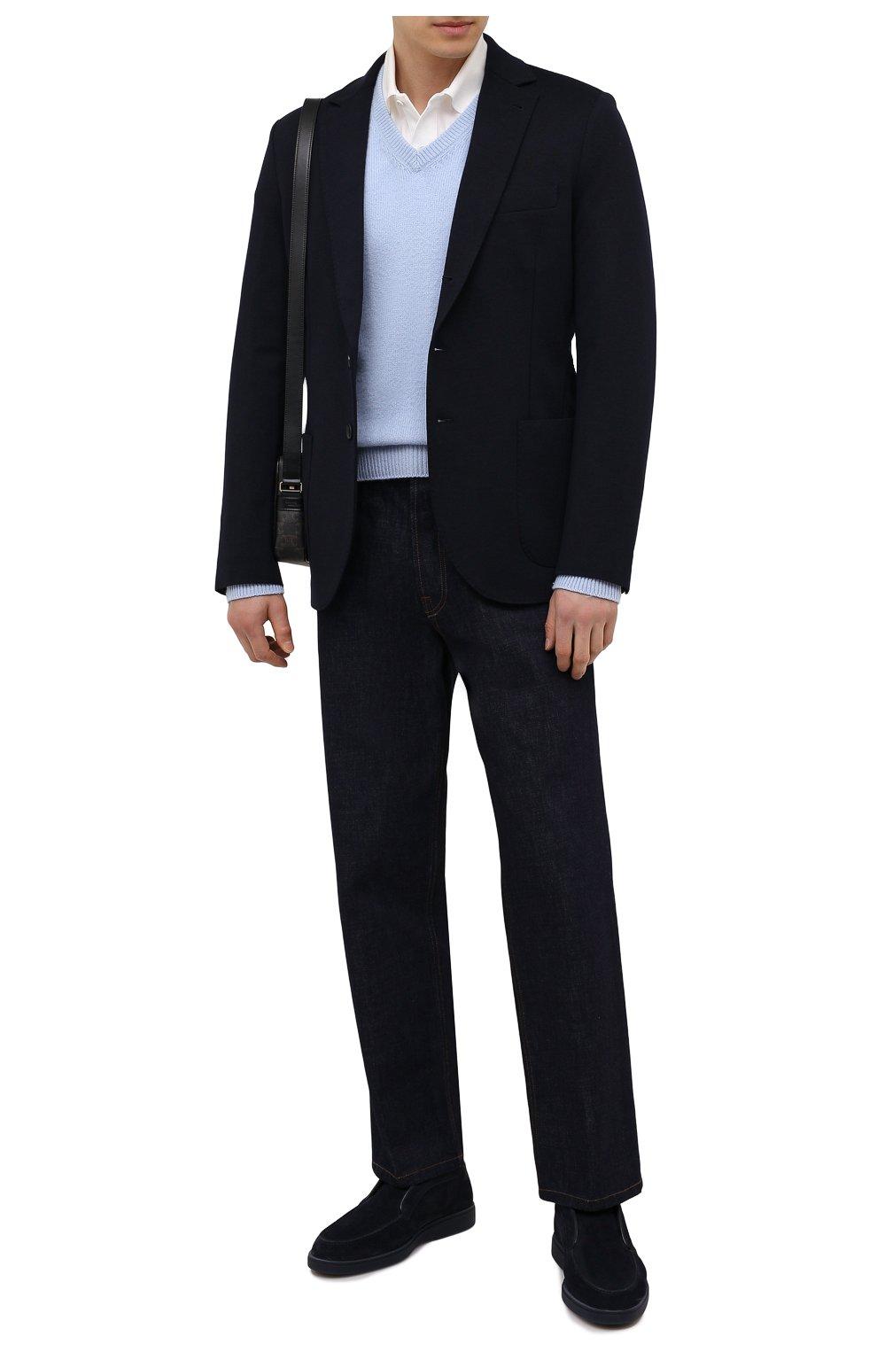 Мужские замшевые ботинки SANTONI темно-синего цвета, арт. MGDT1782300TASVUU60   Фото 2 (Мужское Кросс-КТ: Ботинки-обувь, зимние ботинки; Подошва: Плоская)