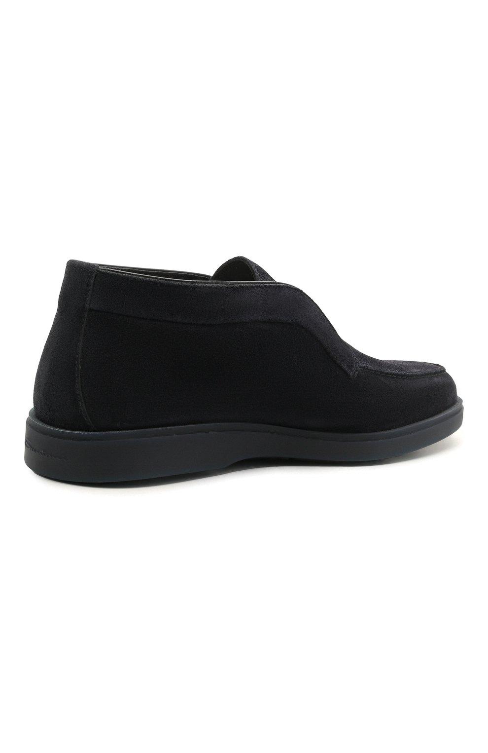 Мужские замшевые ботинки SANTONI темно-синего цвета, арт. MGDT1782300TASVUU60   Фото 4 (Мужское Кросс-КТ: Ботинки-обувь, зимние ботинки; Подошва: Плоская)