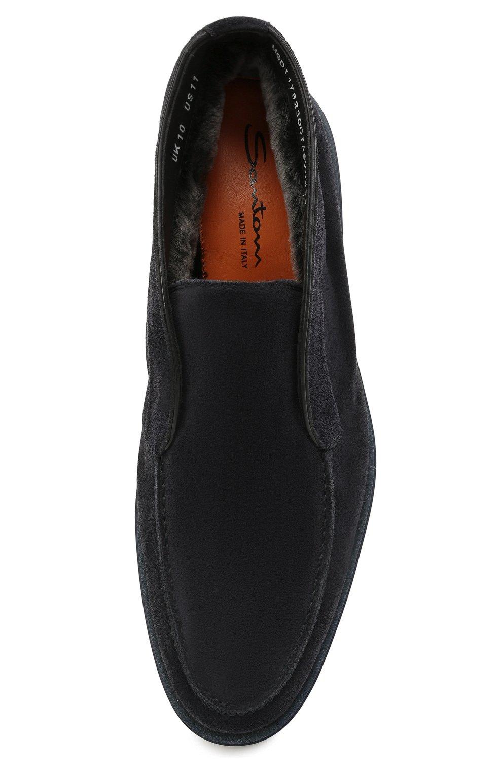 Мужские замшевые ботинки SANTONI темно-синего цвета, арт. MGDT1782300TASVUU60   Фото 5 (Мужское Кросс-КТ: Ботинки-обувь, зимние ботинки; Подошва: Плоская)