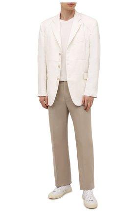 Мужские кожаные кеды TOM FORD белого цвета, арт. J0974T-LCL074 | Фото 2 (Подошва: Массивная; Материал внутренний: Натуральная кожа)