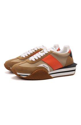 Мужские комбинированные кроссовки TOM FORD светло-коричневого цвета, арт. J1292T-LCL134 | Фото 1