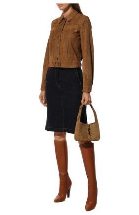 Женские кожаные сапоги 68 SAINT LAURENT коричневого цвета, арт. 657922/2W700 | Фото 2 (Подошва: Плоская; Материал внутренний: Натуральная кожа; Высота голенища: Средние; Каблук тип: Устойчивый; Каблук высота: Высокий)