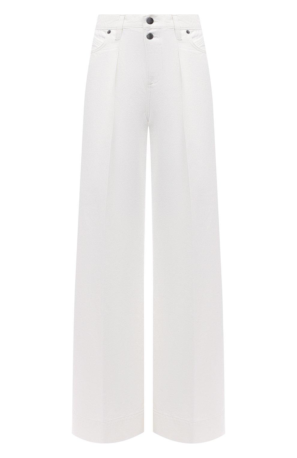 Женские джинсы FRAME DENIM белого цвета, арт. MPJ171   Фото 1 (Силуэт Ж (брюки и джинсы): Широкие; Длина (брюки, джинсы): Стандартные; Материал внешний: Хлопок, Деним; Стили: Кэжуэл)