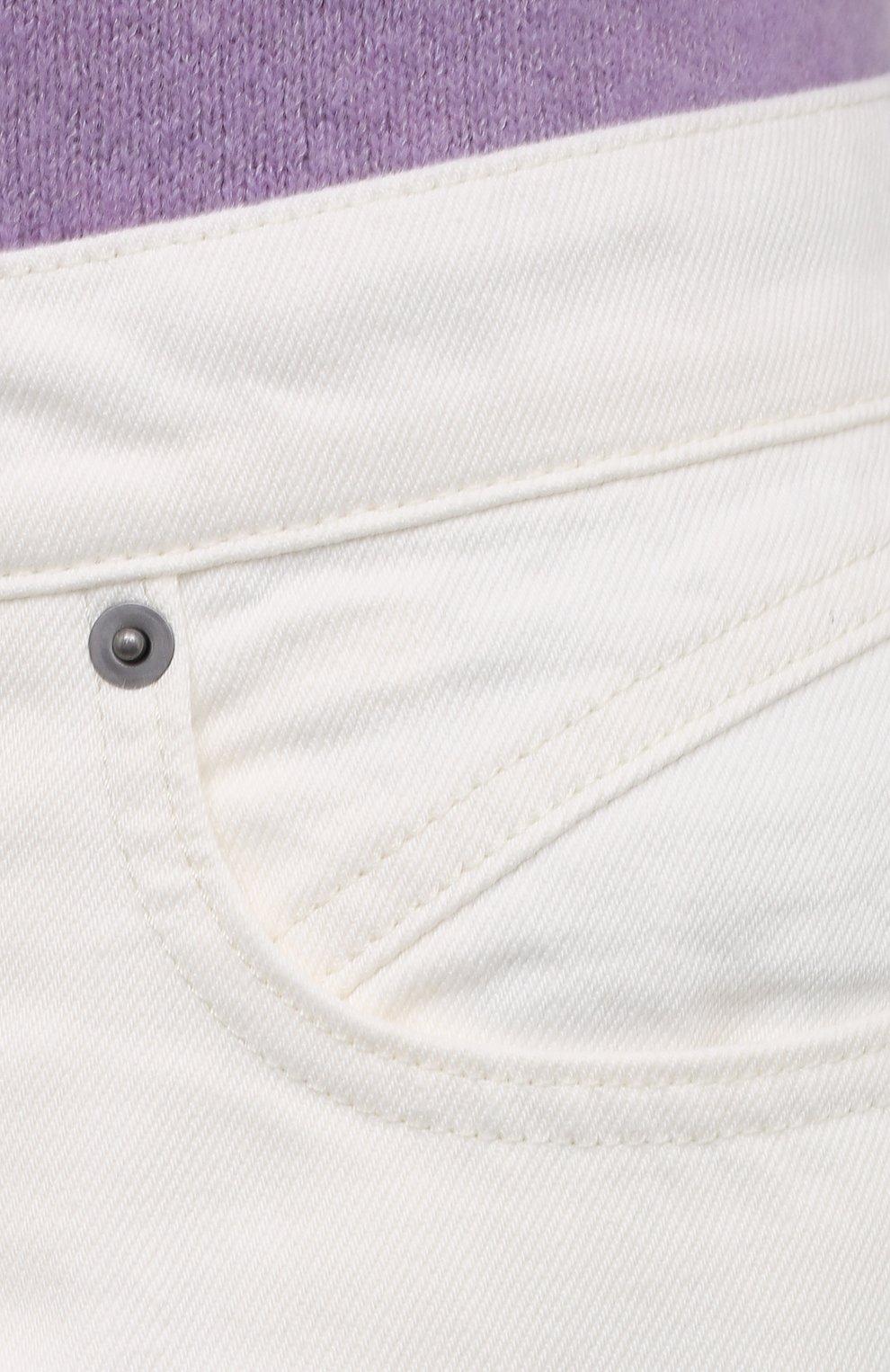 Женские джинсы FRAME DENIM белого цвета, арт. MPJ171   Фото 5 (Силуэт Ж (брюки и джинсы): Широкие; Длина (брюки, джинсы): Стандартные; Материал внешний: Хлопок, Деним; Стили: Кэжуэл)