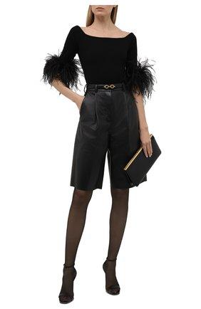 Женский шерстяной топ с отделкой перьями SAINT LAURENT черного цвета, арт. 654479/Y75BK   Фото 2