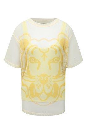 Женская футболка KENZO желтого цвета, арт. FB52TS6464PM | Фото 1 (Женское Кросс-КТ: Футболка-одежда; Стили: Спорт-шик; Длина (для топов): Стандартные; Материал подклада: Хлопок; Принт: С принтом; Рукава: Короткие; Материал внешний: Синтетический материал)