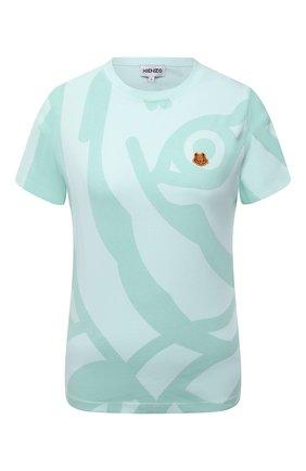 Женская хлопковая футболка KENZO светло-зеленого цвета, арт. FB52TS8404SG | Фото 1 (Стили: Спорт-шик; Рукава: Короткие; Материал внешний: Хлопок; Принт: С принтом; Женское Кросс-КТ: Футболка-одежда; Длина (для топов): Стандартные)