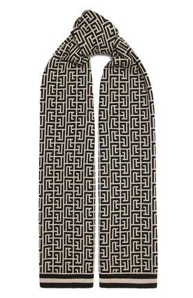 Женский шерстяной шарф BALMAIN черно-белого цвета, арт. WF1XG000/K297 | Фото 1