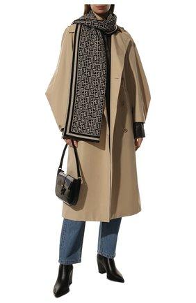 Женский шерстяной шарф BALMAIN черно-белого цвета, арт. WF1XG000/K297 | Фото 2