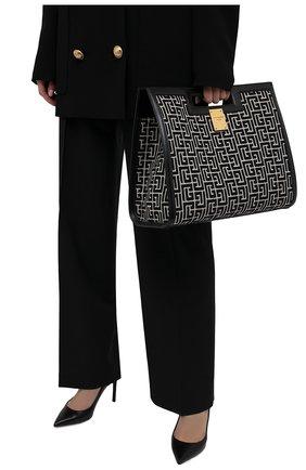 Женский сумка-тоут 1945 medium BALMAIN черно-белого цвета, арт. WN1BL658/TJGH | Фото 2