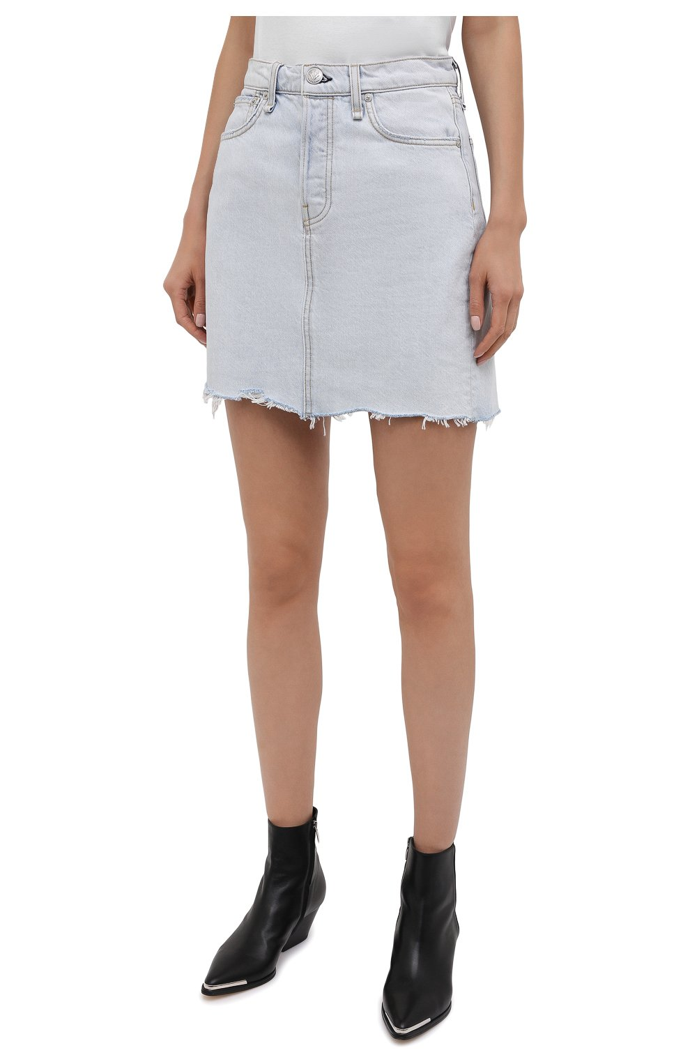 Женская джинсовая юбка RAG&BONE светло-голубого цвета, арт. WDD21S1B31B1RA | Фото 3