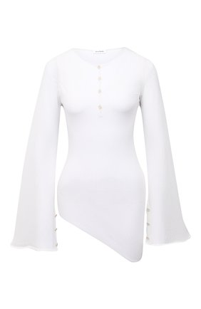 Женский топ ACNE STUDIOS белого цвета, арт. A60273 | Фото 1 (Длина (для топов): Удлиненные; Материал внешний: Синтетический материал; Кросс-КТ: с рукавом; Стили: Романтичный; Рукава: Длинные)