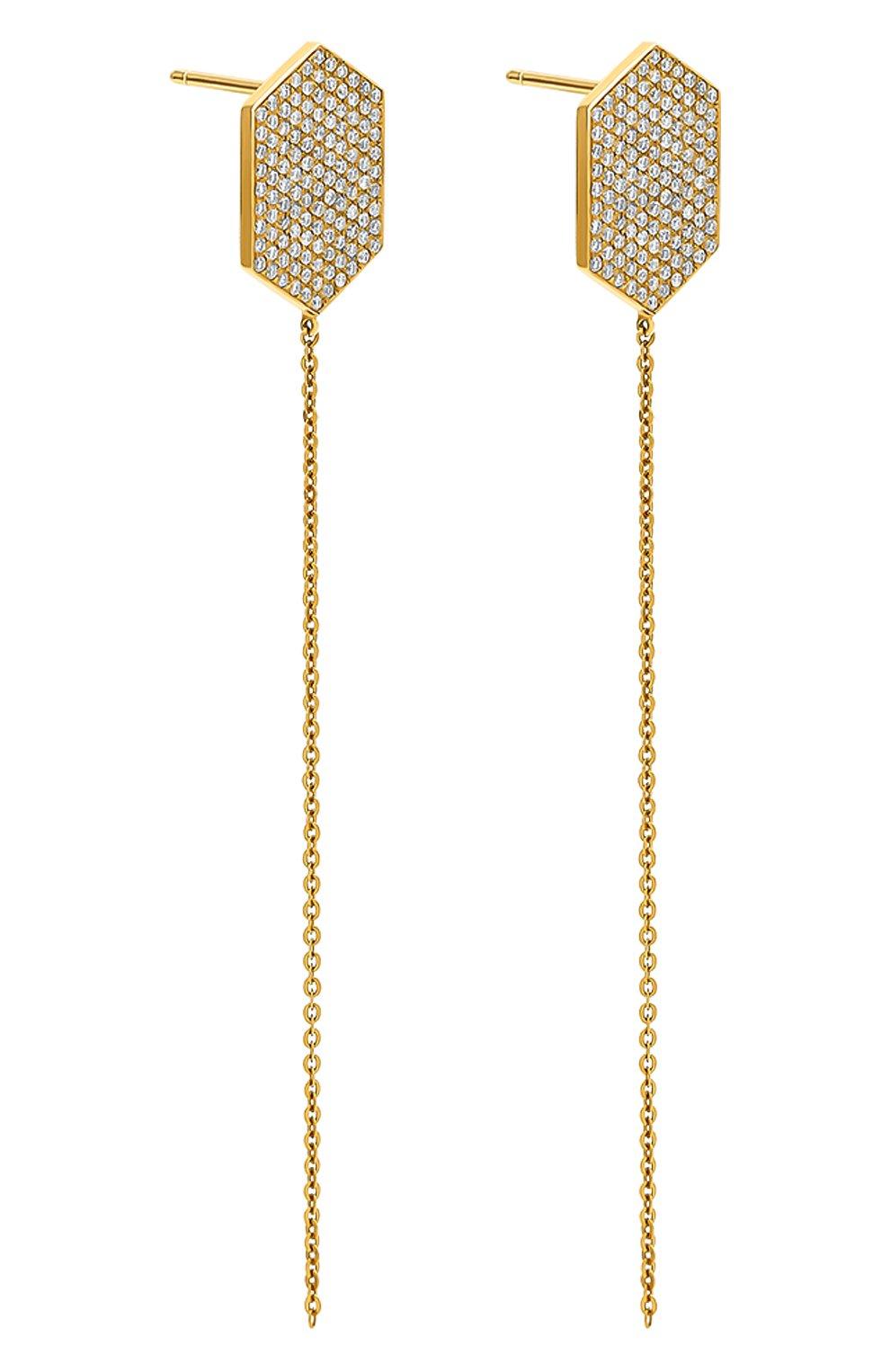 Женские серьга LITO бесцветного цвета, арт. E-L-016 | Фото 2 (Драгоценные камни: Бриллианты; Материал сплава: Желтое золото)